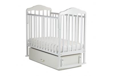 Детская кроватка СКВ 122001 маятник я с ящиком цвет белый.