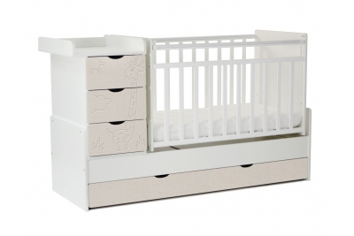 Детская кроватка-трансформер СКВ 540031-212   цвет белый/серый текстиль)  жираф.