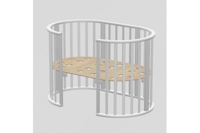 Круглая кроватка-трансформер  Оливия белый.