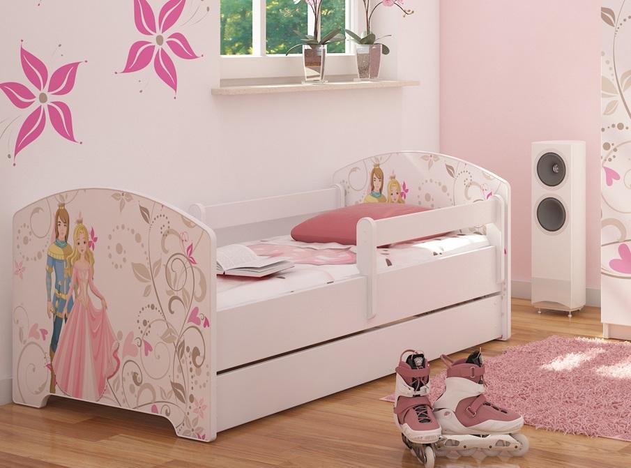 """Кровать детская от года модель Оскар """"Принц и принцесса"""" с ящиком и матрасом."""