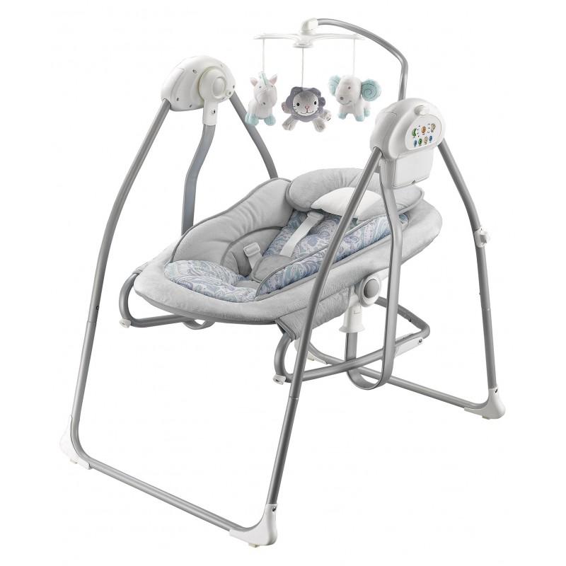 Детские электронные качели Baby Mix BY020 (работают от адаптера и от батареек).