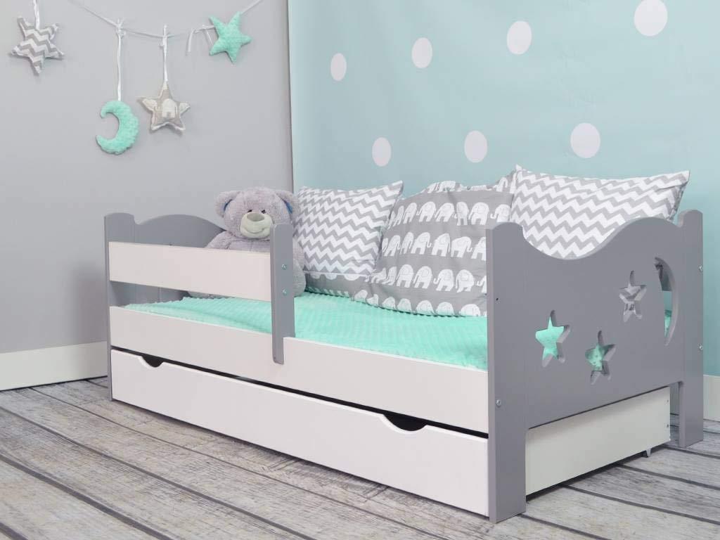 Кровать подростковая Камила с барьерами, матрасом и подкроватным ящиком цвет:белый/серый.