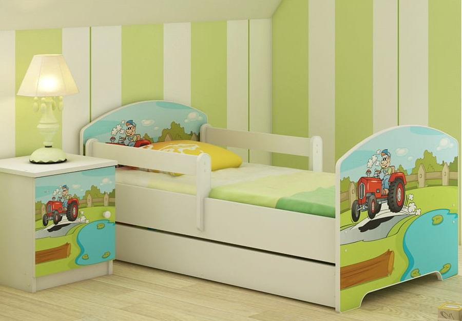 """Кровать детская от года модель Оскар """"Веселый трактор"""" с ящиком и матрасом."""