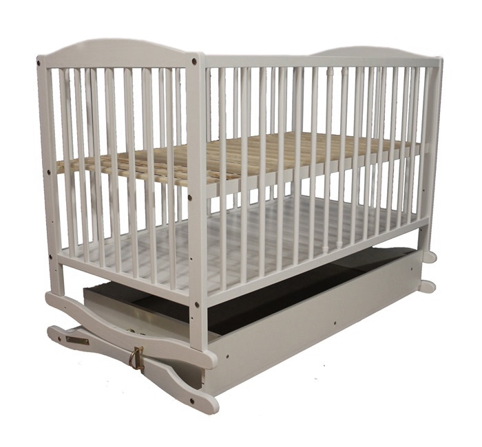 Кроватка детская KLUPS Radek с ящиком цвет белый