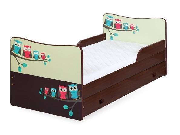 Кровать детская от года Klups TIMO СОВЫ с ящиком и матрасом.