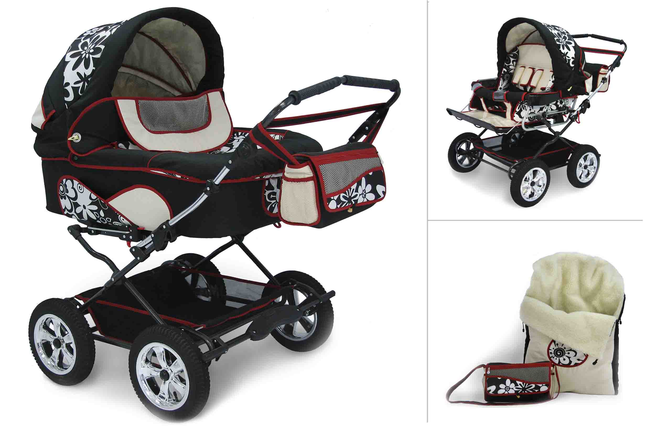 """Детская универсальная коляска для двойни Reindeer """"Twin"""" 2в1."""