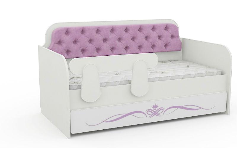 Кровать Детская Сирень с мягкой спинкой (спальное место 180Х90)