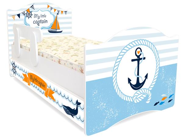 Кровать детская Капитан с подкроватным ящиком и бортиком.