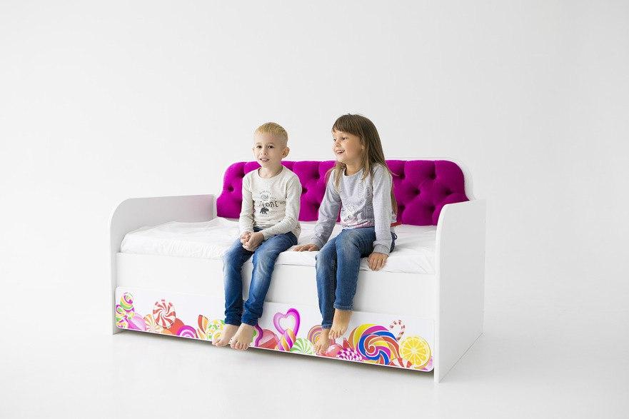 Кровать-тахта детская 160Х80 Коллекция Конфетки фуксия.