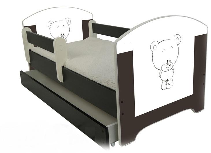 """Кровать детская от года модель Оскар """"Шоколадный мишка"""" с ящиком и матрасом."""