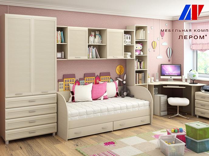 Детская комната Ксюша 6, цвет дуб беленый.