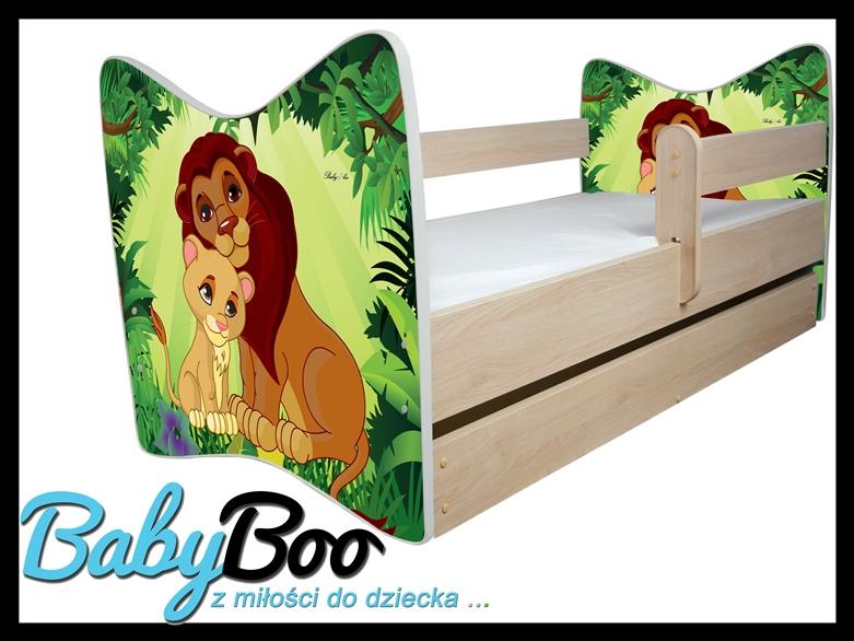 """Кровать детская от 3-х лет JUNIOR X DELUX  """" Король Лев""""  дуб светлый с подкроватным ящиком и матрасом."""