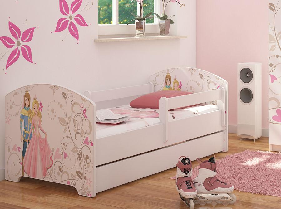 """Кровать подростковая с перилами Oskar X """"Принц и принцесса"""" c ящиком и матрасом."""