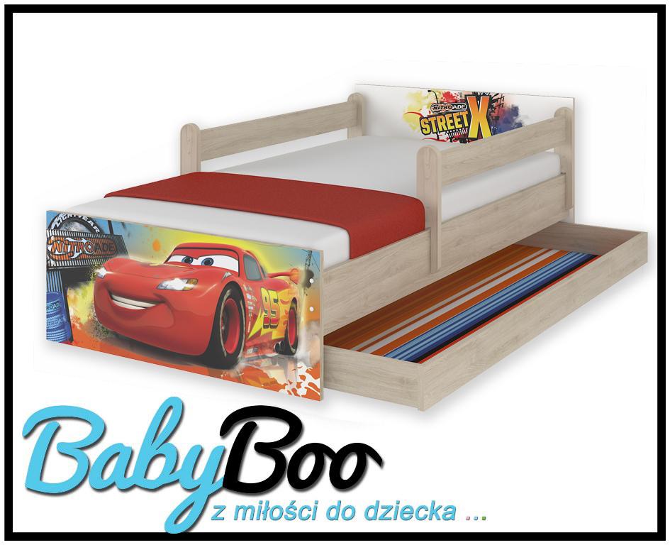 """Кровать детская с перилами и подкроватным ящиком  MAX """"Тачки""""+ матрас."""