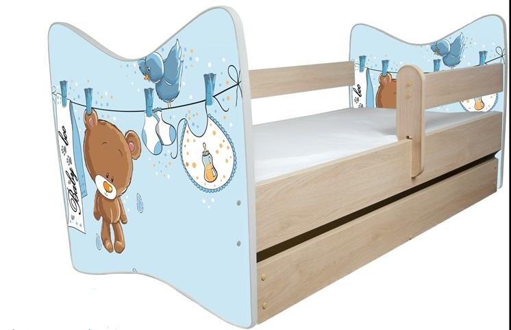 Кровать детская от 3-х лет Джуниор (дуб светлый) с подкроватным ящиком и матрасом.