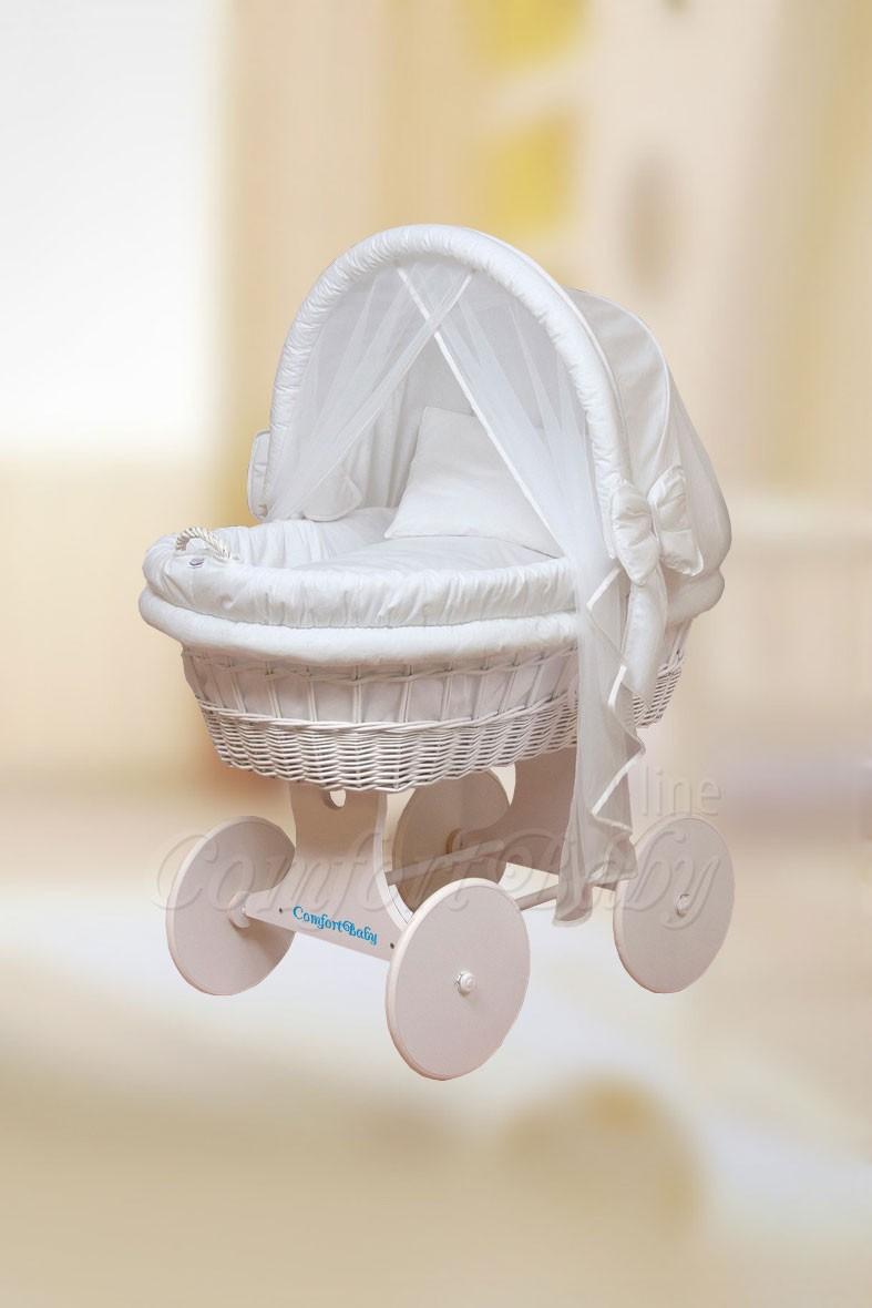 Детская колыбель для новорожденного ComfortBaby Home (белоснежная ива)+классический комплект белья.