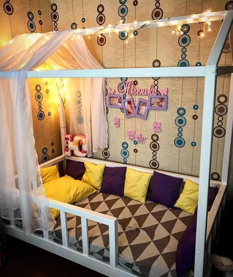 Кровать Домик Флор1 (массив сосны).