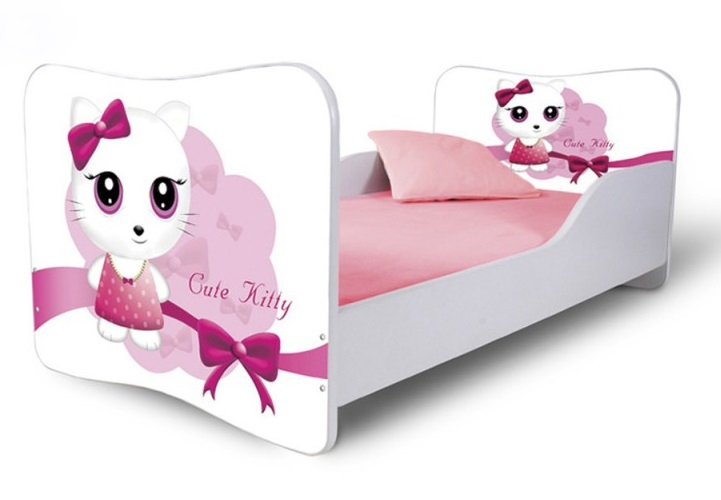 Кровать детская от 3х лет модель Rainbow серия Котики.