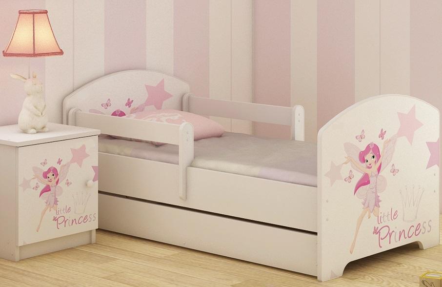 """Кровать подростковая с перилами Oskar X """"Маленькая принцесса"""" c ящиком."""