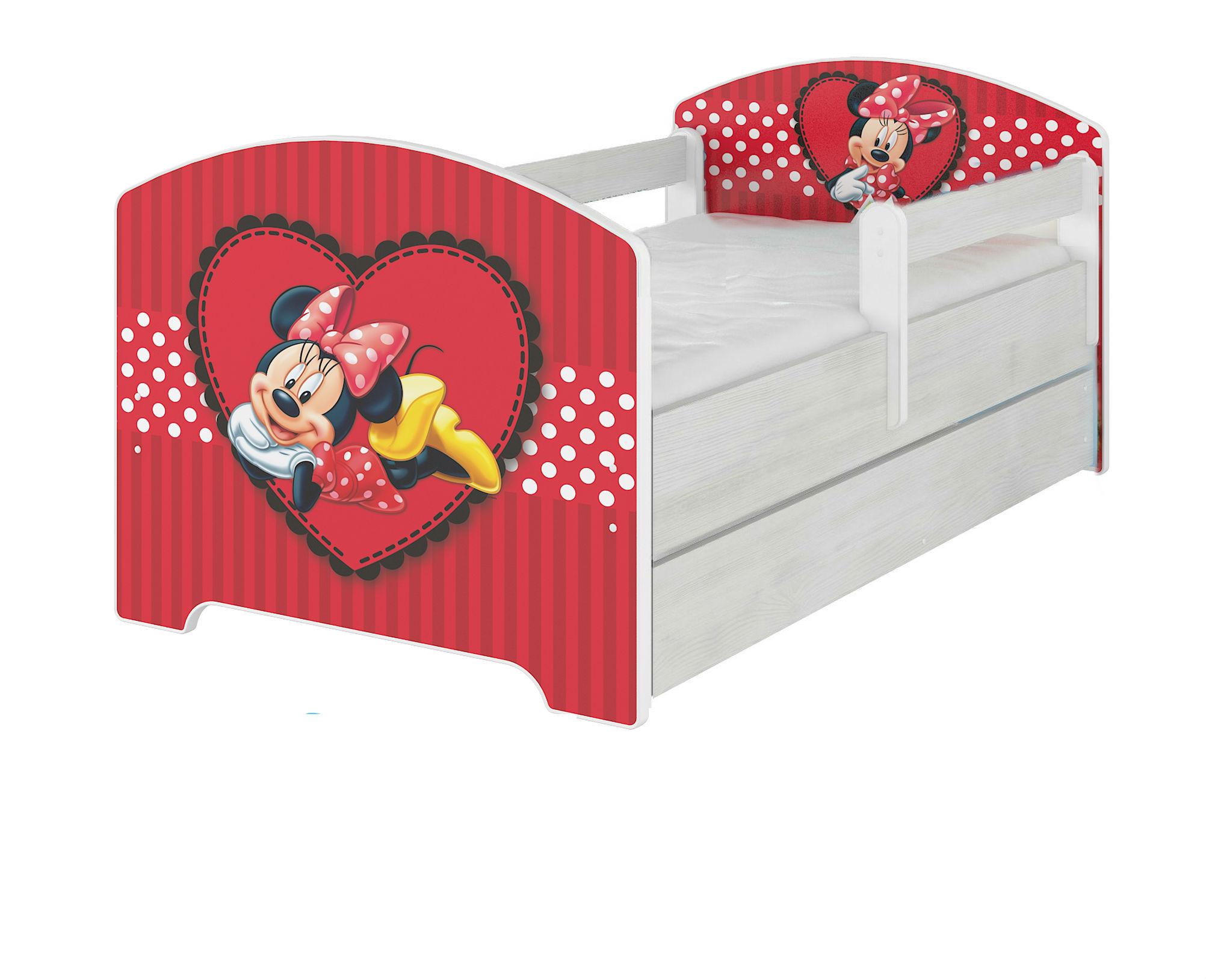 """Кровать детская с перилами Oskar X  Disney """"Сердце Минни""""  160х80."""