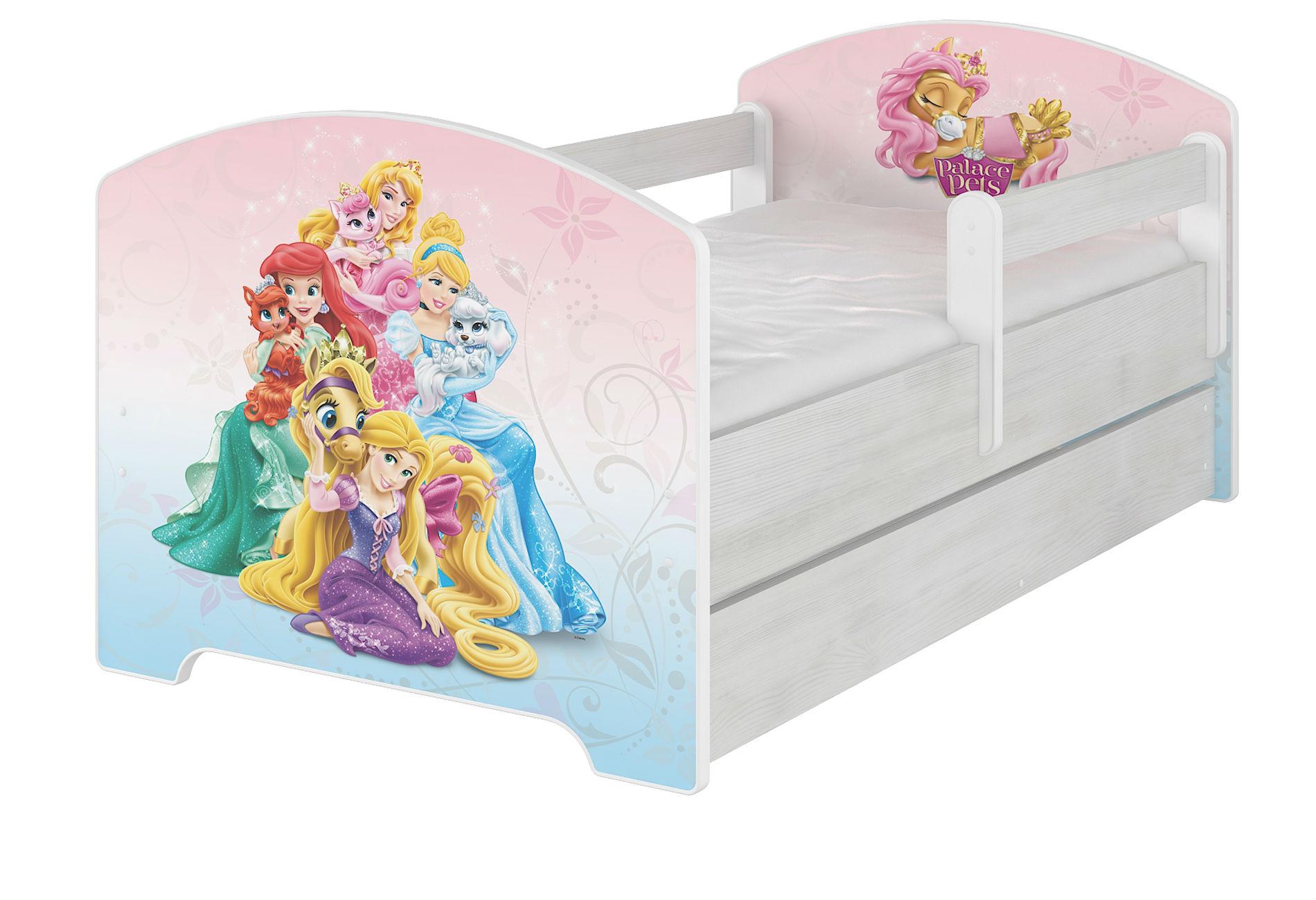 """Кровать детская с перилами Oskar X  Disney """"Palace Pets"""" с ящиком."""