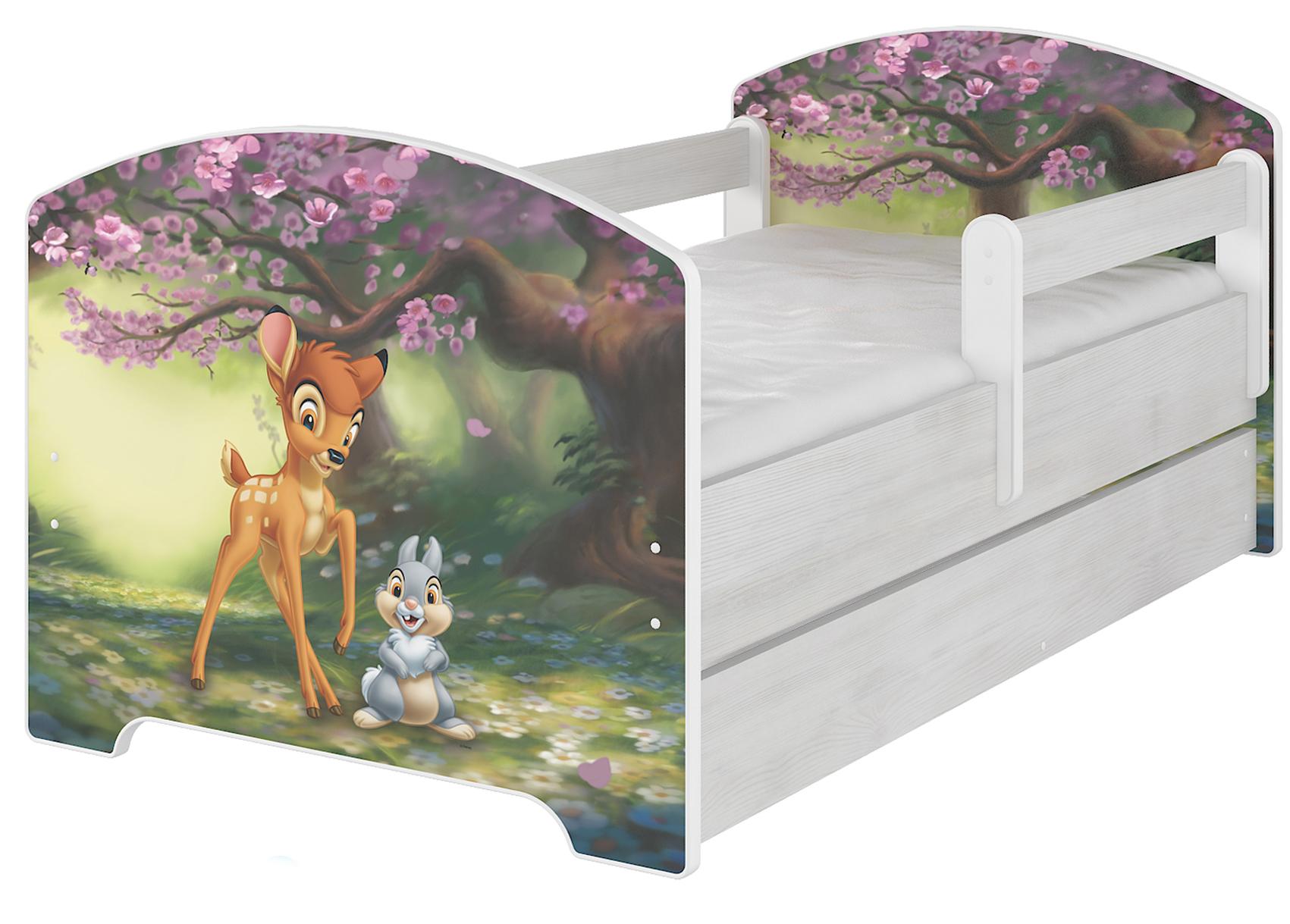 """Кровать детская с перилами Oskar X  Disney """"Бэмби"""" с ящиком."""