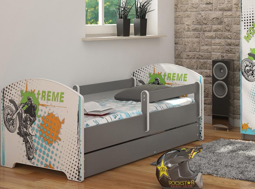 """Кровать подростковая с перилами Oskar """"Экстрим"""" c ящиком и матрасом."""