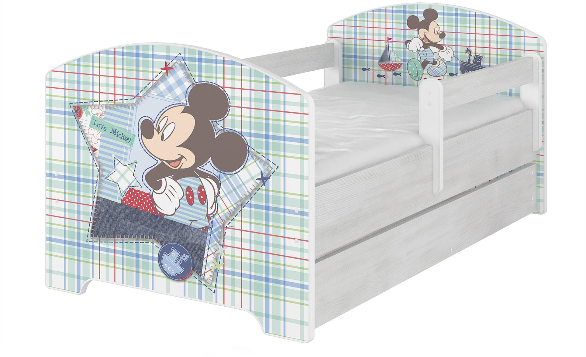 """Кровать детская с перилами и ящиком Oskar X  Disney """"Микки Маус""""+ матрас."""