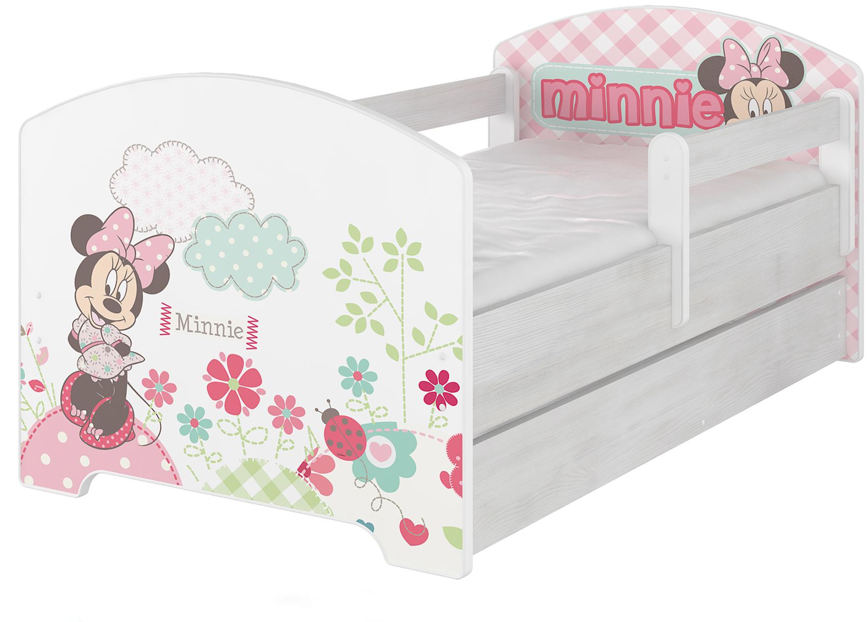"""Кровать детская с перилами Oskar X  Disney """"Минни"""" с ящиком и матрасом."""