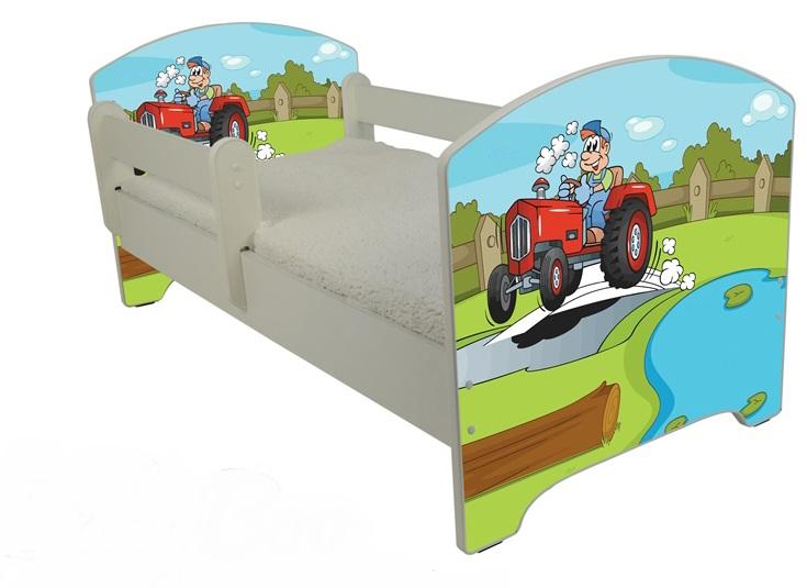 """Кровать детская от года модель Оскар """"Веселый трактор"""" с матрасом"""