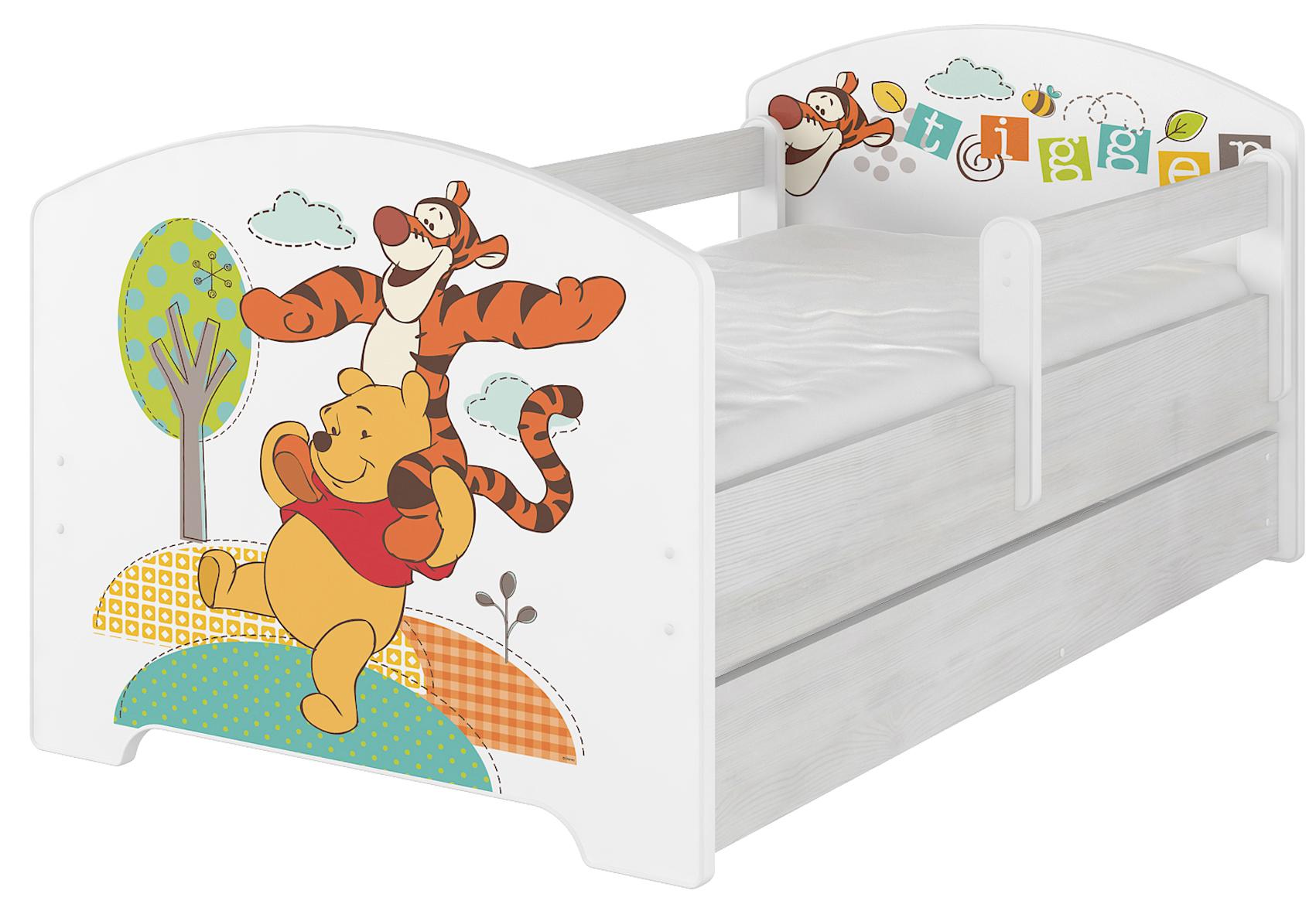 Кровать детская с перилами Oskar X  Disney Тигруля и Винни с  матрасом без подкроватного ящика.
