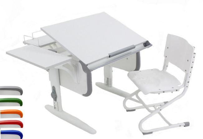 """Парта трансформер  ДЭМИ """"СУТ 24-02 (белый) +деревянный стул"""
