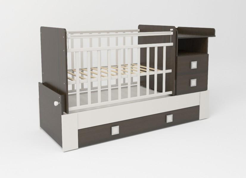 Детская кроватка-трансформер СКВ-8 (830038-1) цвет венге/белый.