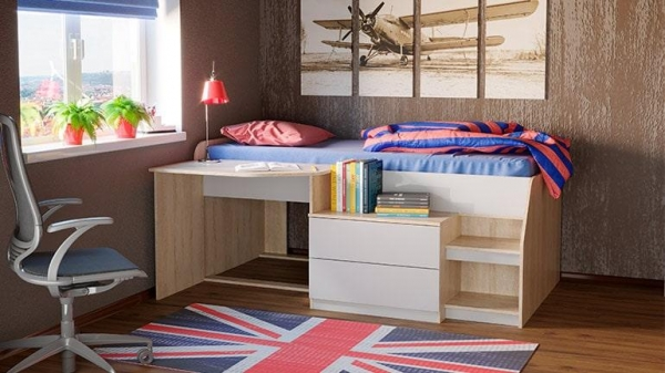 Кровать чердак Тони-12 (дуб сонома/белый глянец).