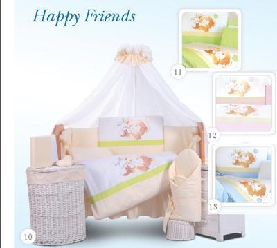 Комплект в кроватку Tuttolina Happy Friends 10 беж (11 салатовый, 12 розовый, 13 голубой) (7 предметов)