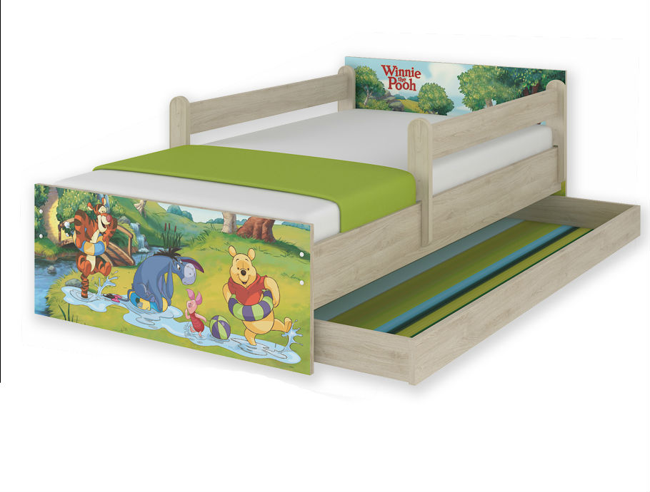 """Кровать детская с перилами MAX """"Винни - зачарованный лес""""+матрас."""