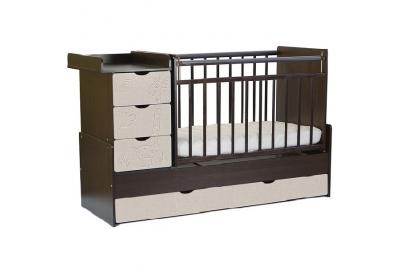 Детская кроватка-трансформер СКВ 540038-212 венге-серый текстиль с жирафом.