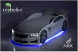 Детская кроватка-машинка БМВ-М белая с подсветкой фар.