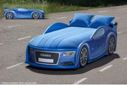 Детская кроватка-машинка Ауди A4 blue с подсветкой фар.