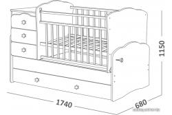 Кроватка-трансформер СКВ. Арт. 940038-1 цвет венге/белый гравировка жираф.
