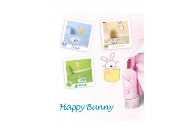 Комплект в кроватку Tuttolina Happy Bunny 57 ( 58  зеленый, 59 беж, 60 голубой) (7 предметов)