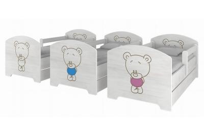 """Кровать детская с бортиками Oskar Oskar коллекция """"Тедди""""  с ящиком и матрасом."""