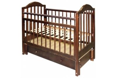Кроватка детская Эстель 10  продольный маятник с ящиком, РФ, цвет Темный, Орех.