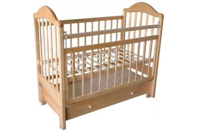 Кроватка детская Эстель 10  продольный маятник с ящиком, РФ, цвет Белый, Слоновая кость, Светлая.