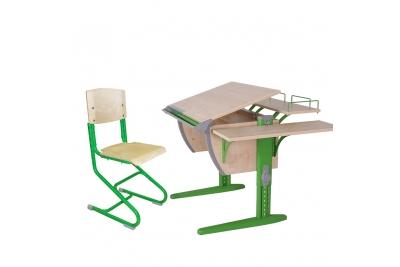 Парта трансформер ДЭМИ. (СУТ.14-02) (зеленый,клен) деревянный стул.
