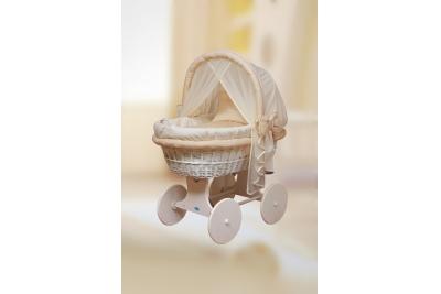Комнатная детская колыбель ComfortBaby Home (белоснежная ива)+классический комплект белья бежево-персиковый (пудровый).