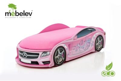 Детская кроватка-машинка Мерседес-М розовая с подсветкой фар.