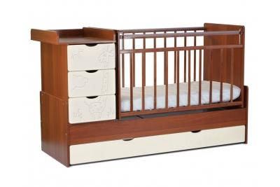 Детская кроватка-трансформер СКВ 540037-110 (жираф) цвет цвет орех/молочная кожа.