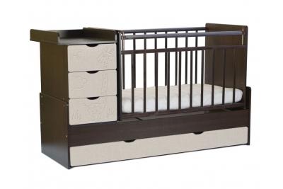 Детская кроватка-трансформер СКВ 540038-212 (венге +серый текстиль).
