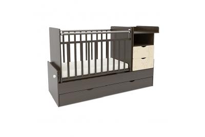Детская кроватка-трасформер СКВ 550038-9 цвет венге-бежевый